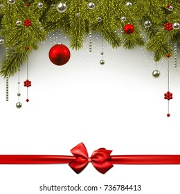 New Year shining background with spruce branches and red bow. Vector illustration.