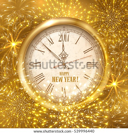 new year shining banner golden clock with inscription happy new year and 2017 digits with
