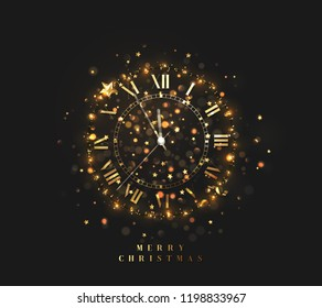 New Year shiny gold clock, five minutes to midnight. Merry Christmas. Xmas holiday. Glowing background with bright lights and sparkle bokeh