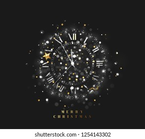 New Year shiny silver clock, five minutes to midnight. Merry Christmas. Xmas holiday. Glowing background with bright lights and sparkle bokeh