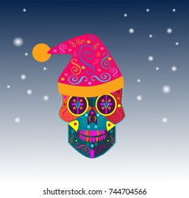New Year Skull vector background