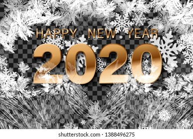 New Year Snow background. Happy Winter Holiday Illustration Template. 2020 Celebration Background. Fantasy Snowstorm Illustration Design.