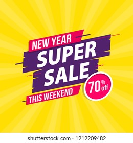 New Year Super Sale template banner with trendy design