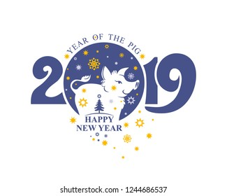 New Year template nice pig boar and christmas stars. Post stamp 2019. Happy New Year! Year of the Pig 2019.