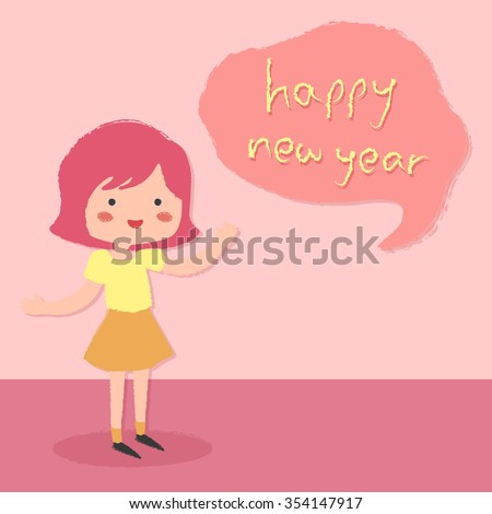 new year theme greeting card with a cute girl saying happy new year in bubble speech