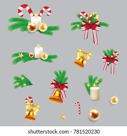 New year tree decoration. Set vector stock.