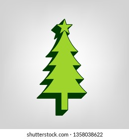 New year tree sign. Vector. Yellow green solid icon with dark green external body at light colored background.