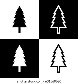 New year tree sign. Vector. Black and white icons and line icon on chess board.