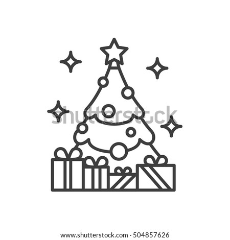 New Year Tree Star Gifts Linear Stock Vector Royalty Free