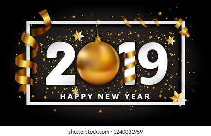 New Year Typographical Cretaive Background 2019 With Christmas golden ball bauble and stripes elements