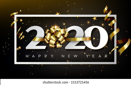New Year Typographical Cretaive Background 2020 With Christmas Bow