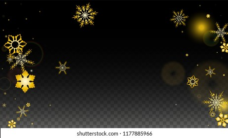 New Year Vector Background with Gold Falling Snowflakes Isolated on Transparent Background. Glitter Snow Sparkle Pattern. Snowfall Overlay Print. Winter Sky. Design for  Poster.