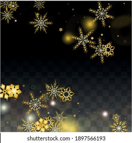New Year Vector Background with Gold Falling Snowflakes Isolated on Transparent Background. Miracle Snow Sparkle Pattern. Snowfall Overlay Print. Winter Sky. Design for  Poster.