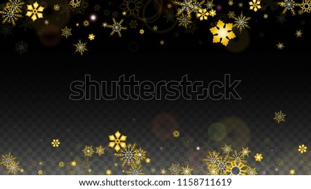 new year vector background with gold falling snowflakes isolated on transparent background realistic snow sparkle