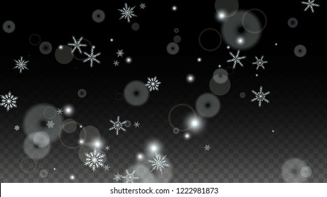 New Year Vector Background with White Falling Snowflakes Isolated on Transparent Background. Glitter Snow Sparkle Pattern. Snowfall Overlay Print. Winter Sky. Design for  Christmas Sale.