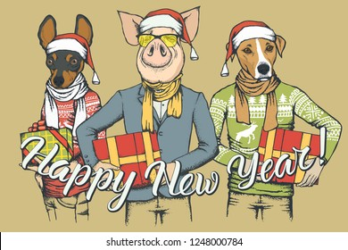 New Year vector concept Pig and two Dogs. Illustration of Dos and Pig on human body celebrating New Year