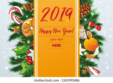 New Year vector editable Background . Sweets background
