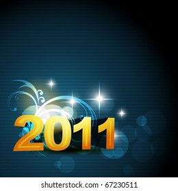 new year vector glowing blue color background