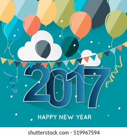 New Year Vector greeting card