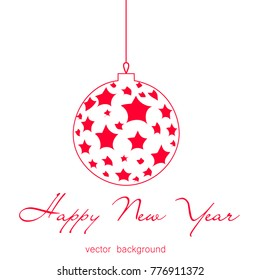 New Year vector greeting card, holiday background, Christmas balls, snowflakes, Christmas, abstract background