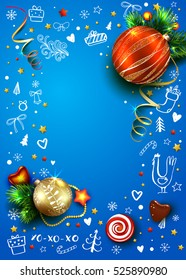New Year vector poster with realistic fir tree, balls, decorations and hand drawn Christmas elements. Rooster. 3D. Place for text. Blue winter background.