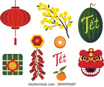 Tết-Vietnamese New Year, Vietnamese Lunar New Year or Tet Holiday. A collection of illustrations about the celebrating Lunar New Year.