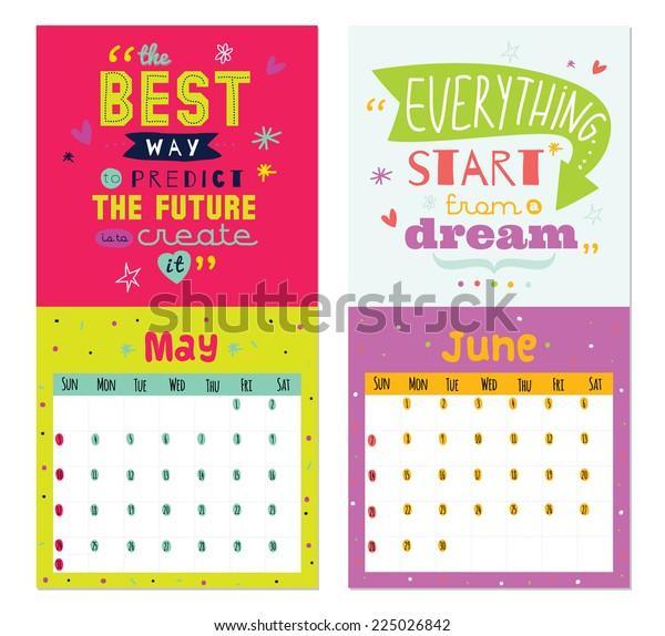 New Year Wall Calendar 2015 Inspirational Stock Vector (Royalty Free