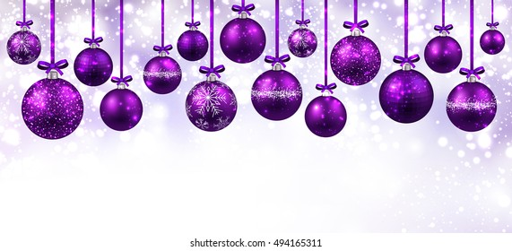New Year white banner with purple Christmas balls. Vector illustration.