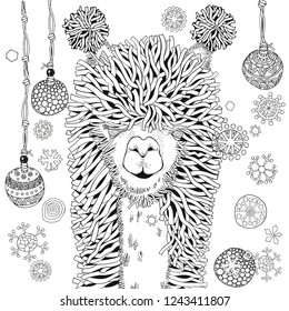 New year winter llama. Coloring Book page for Adult and children in doodle style.  Black and white  background. Hand-drawn christmas lama.