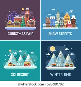 New Year and winter travel backgrounds. Christmas fair, Europe winter town, snow mountain hotel and ski resort by night. Flat design landscape. Winter holidays destination backdrops in flat design.