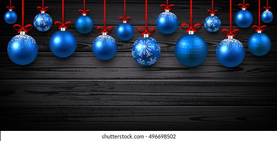 New Year wooden banner with blue Christmas balls. Vector illustration.