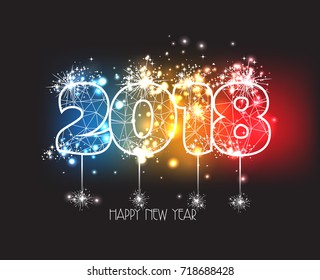 New Years 2018 polygonal line and fireworks background