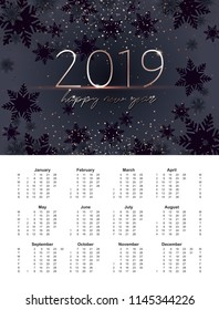 New Years of 2019 calendar with grid. A6 size. Gold 2019 inscription. Happy New Year greeting. Strict mens style. Graphite and black snowflakes and golden confetti.