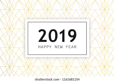 New Years 2019 Greeting card with date and Art Deco background