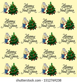 New years 2020 pattern. Lettering,  holiday tree and rat for packing paper, cards, banner and other