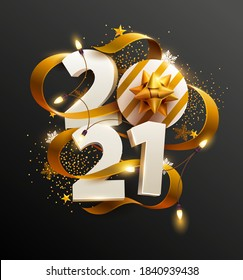 New Years 2021. Greeting card with date and ribbon