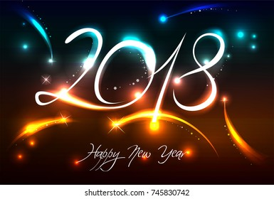 New Years banner for 2018 with back light and place for your text. Possible to create holiday cards or banner.