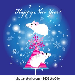 New Year's bright greeting card with white mice on a Christmas tree on a blue background with snow