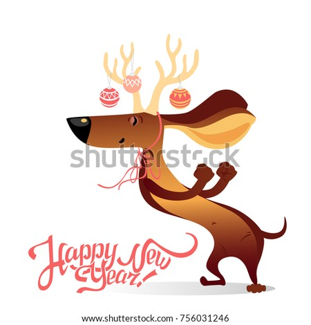 New Years Card Funny Dancing Dog Stock Vector (Royalty Free ...