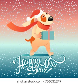 New Year's card with funny dog with a gift on a winter background. dog_winter - Shutterstock ID 756031249