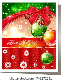 New Year's card for the holiday with snowflakes with the inscription Happy New Year.