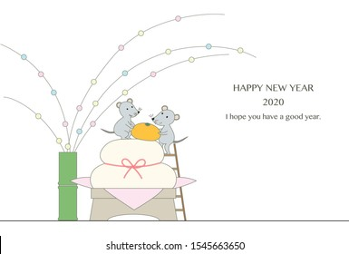 New year's card illustration of two mice with orange on Kagami-mochi.