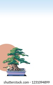 New Year's Card template · Bonsai and first sunrise