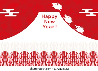 New Year's card with wild boars and mountain.