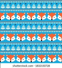New Year's Christmas pattern pixel with foxes vector illustration eps
