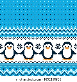 New Year's Christmas pattern pixel with penguins vector illustration eps