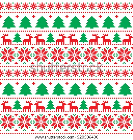 New Years Christmas Pattern Pixel Stock Vector Royalty Free Interesting Christmas Pattern