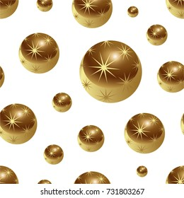 New Year's Christmas seamless pattern of golden New Year balls with stars.