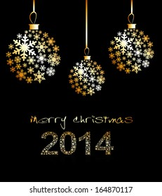 New Year's or Christmas toy made of gold snowflakes on a black background. Vector.