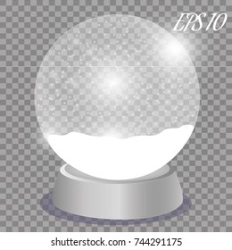 New Year's Christmas transparent ball, Ball with snow, on a transparent background. Vector idustration.